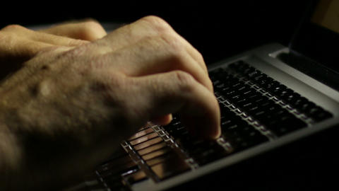 Laptop Writing An Email Late At Night stock footage