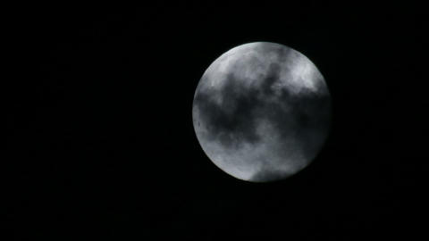 Full Moon and Clouds 03 Footage