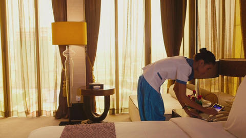 Young Woman Working As Maid In Hotel Suite Room stock footage