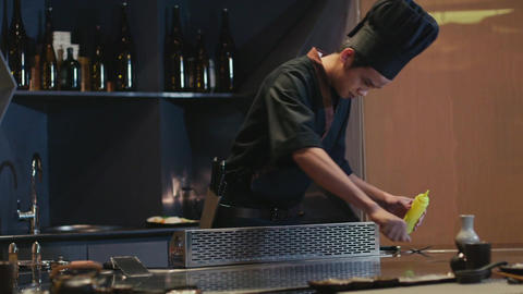 Professional Cook At Work In Restaurant Kitchen stock footage