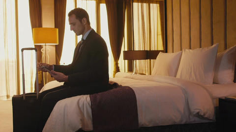 Businessman With Ipad For Internet And Email In Ho stock footage