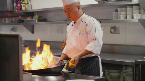 Professional Chinese Chef Working In Asian Restaur stock footage