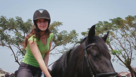 Young Woman Horseback Riding Footage
