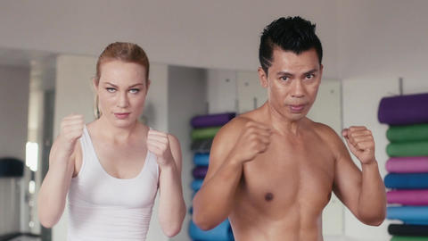Teacher And Female Student At Combat Sport And Boxe Footage