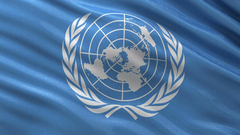 Flag of the United Nations seamless loop Animation