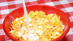 VID 202 Pouring Milk Into Cereal Hd stock footage