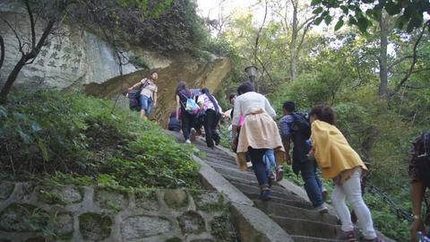 People climbing Huashan upstairs 02 Live Action