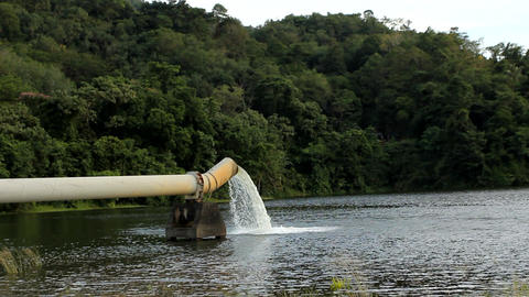 Water Supply Pipe And Dam stock footage