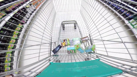 HD Time Lapse Of Shopping Cart Moving Through Supermarket stock footage
