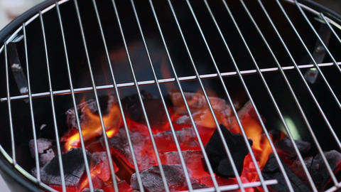 HD Footage Close Up Of Flame Barbecue stock footage