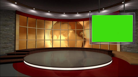 News TV Studio Set 40 Virtual Green Screen Backgro stock footage
