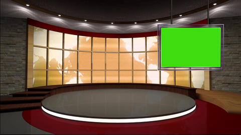 News TV Studio Set 38 Virtual Green Screen Backgro stock footage