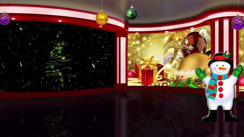Christmas TV Studio Set 02 Virtual Green Screen Ba stock footage