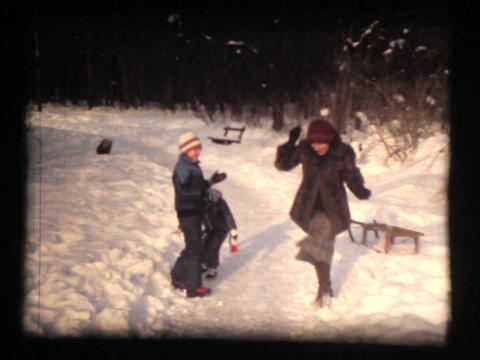 Two Girls And Mother, Winter Fun, Snowball Fight I stock footage