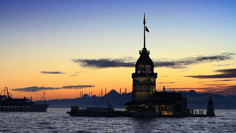 Istanbul Maiden Tower from the east in sunset Footage