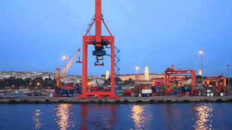 Container Port Terminal stock footage