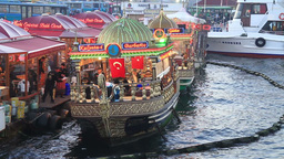 Fish food boats in Istanbul Footage