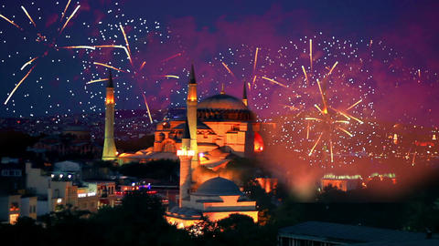 Hagia Sophia, Istanbul New Year Eve stock footage