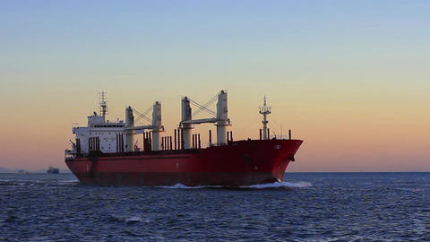 Cargo ship sailing from open sea Footage