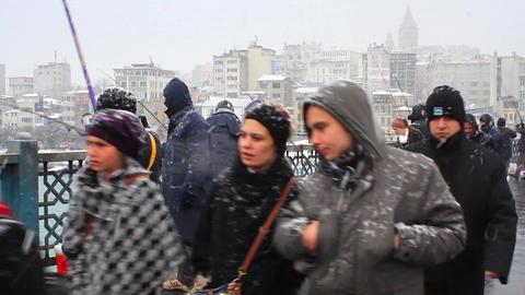 People walking in the snow Footage