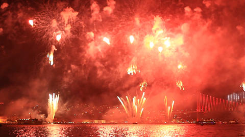 Amazing fireworks, full of fire, smoke and reflect Footage
