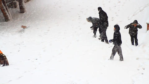 Snowball fight while its snowing Footage