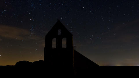 Stars, Space, Milky Way, Turning Through Old Churc Footage