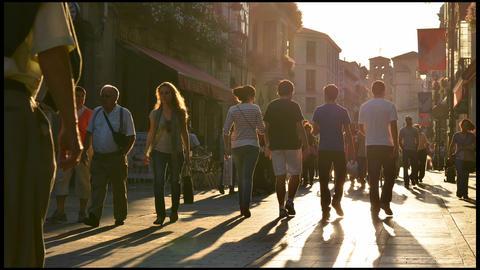 Sunset street people timelapse Footage