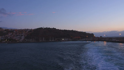 Ferry leaving San Sebastian de La Gomera during th Footage