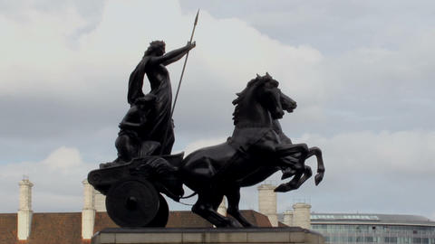 Boudicca Statue by the Westminster Bridge Footage
