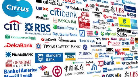 Logotypes 4k 3 Bank stock footage