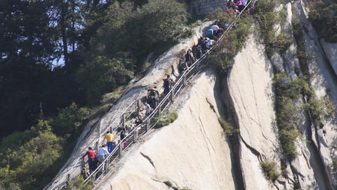 People on Huashan Green Dragon Ridge 02 Footage
