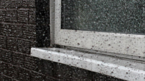 Rain Tapping On The Window Sill stock footage