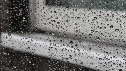 Rain drops on the glass - the sound of rain and dr Footage