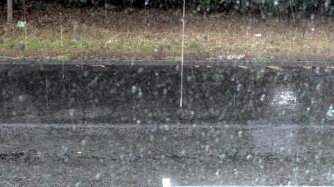Heavy rain hitting street Footage