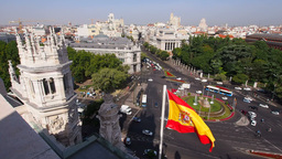 Plaza de Cibeles – view from The Cybele Palace  Footage