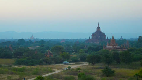 Bagan temples after sunset. View from above Live Action