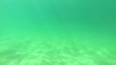 Underwater view of the sandy bottom in front of th Footage