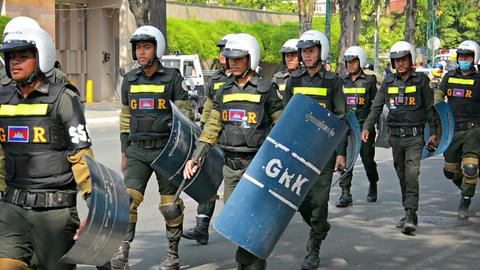 PHNOM PENH. CAMBODIA - 29 DEC 2013: Cambodian riot Footage