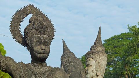 Monkey god in Sculpture Buddha Park (Xieng Khuan). Footage