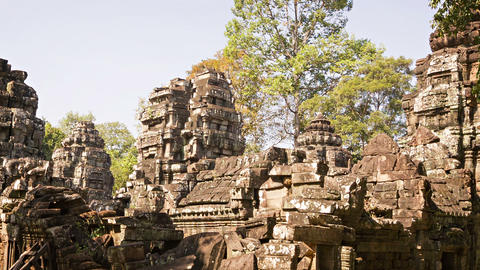 Ruins of old temples of the 12th century. Cambodia Footage