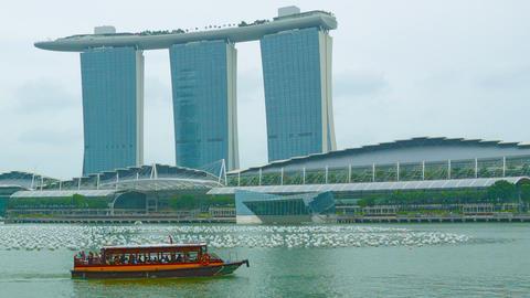 Pleasure boat in the bay near Marina Bay. Singapor Footage