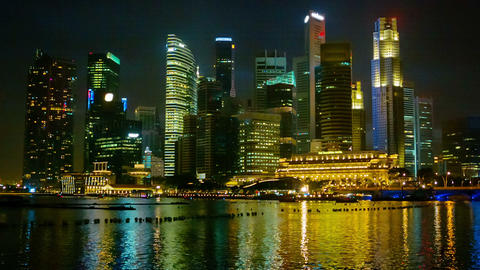 Singapore skyscrapers at night Footage