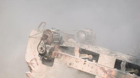 Working mechanized stone crusher close up Footage