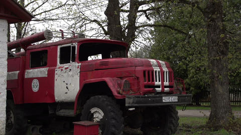 An old red truck on standby Footage