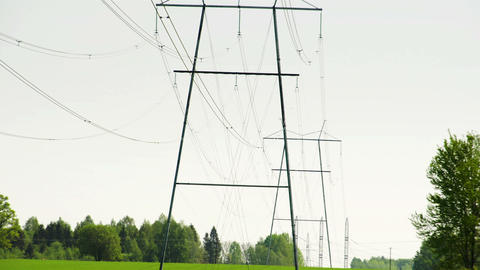 Two Big Electric Posts With Wires FS700 4K Odyssey stock footage