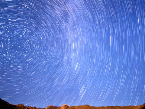 Milky Way In The Mountains. Line. Time Lapse. 640x stock footage