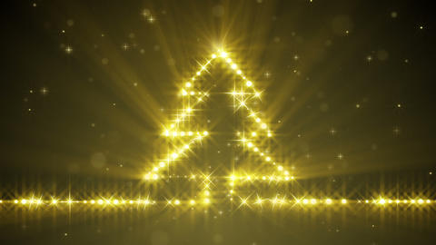 shiny christmas tree yellow stars loop Animation
