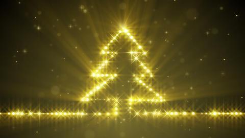 shiny christmas tree yellow stars loop Animation