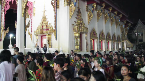 religious ceremony in Buddhist temple at Asalha Pu Footage